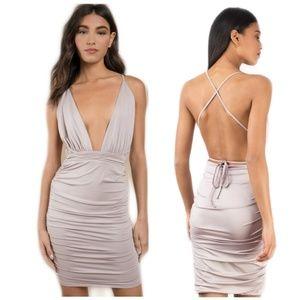 Lilac Plunging Bodycon Backless Dress Medium
